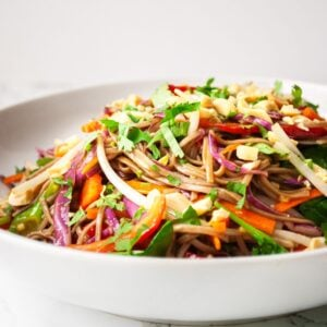A side view of a plate of rainbow Thai noodle salad.