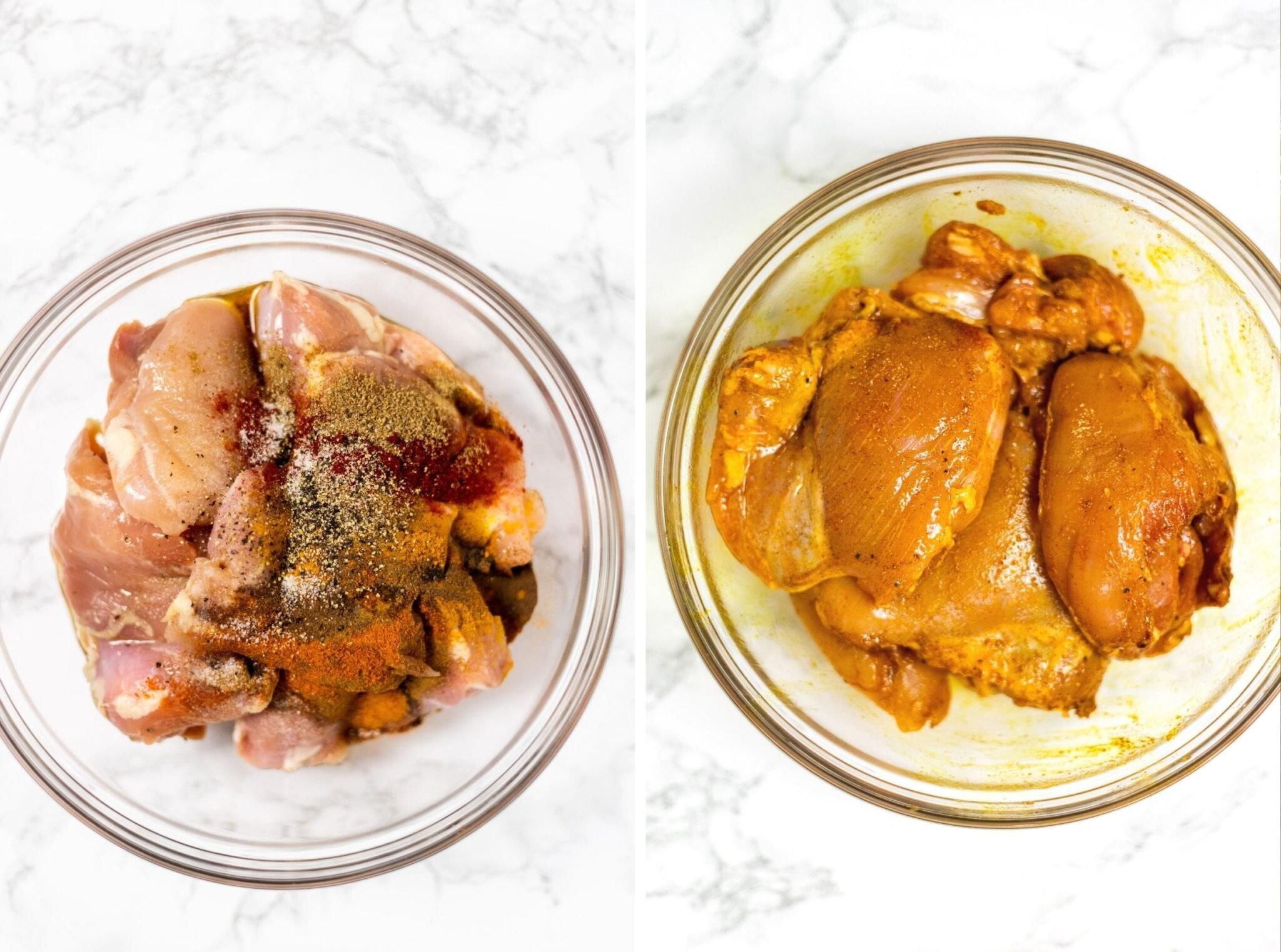 A collage of a photo chicken in a bowl with spices spooned on to it next to a photo of mixed seasoned chicken.