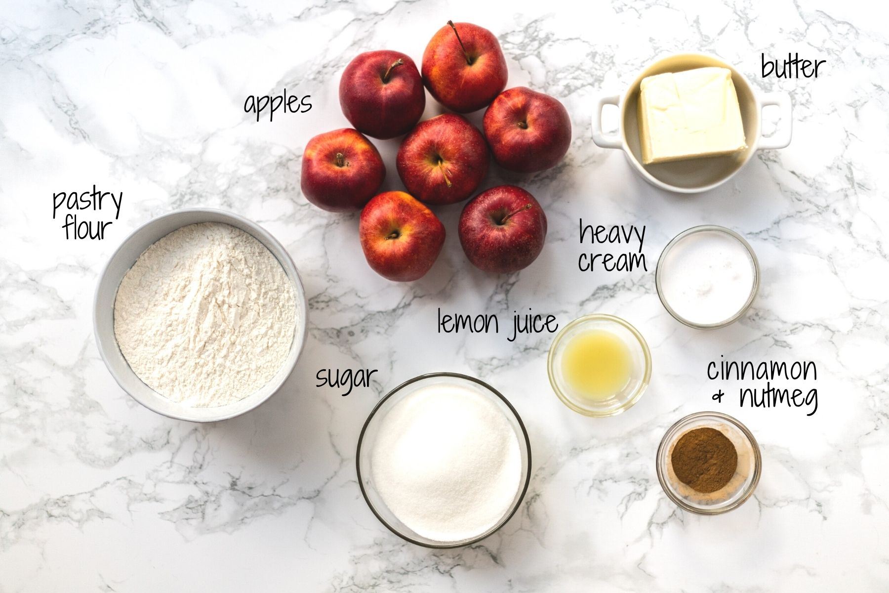 a top down view of ingredients for mini apple tarts with labels.