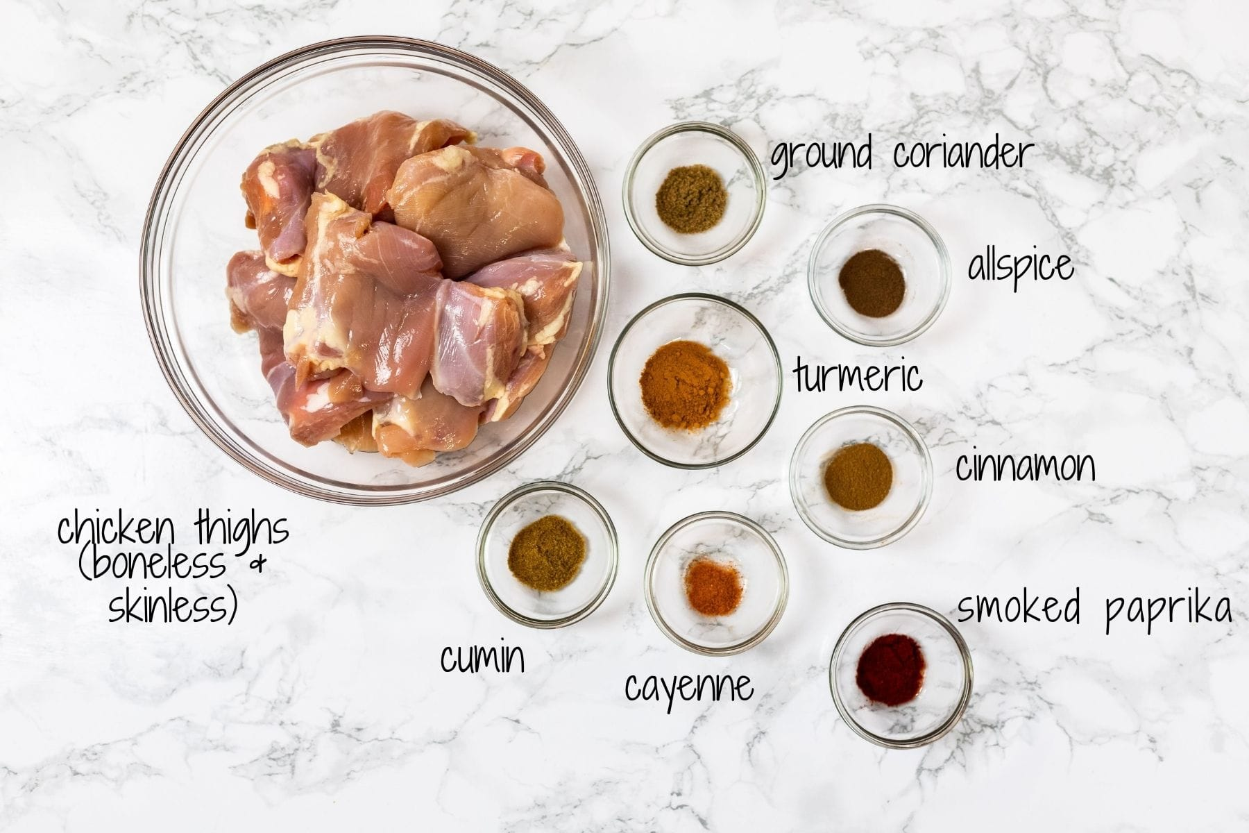 a top down view of ingredients for north African chicken with text labels.