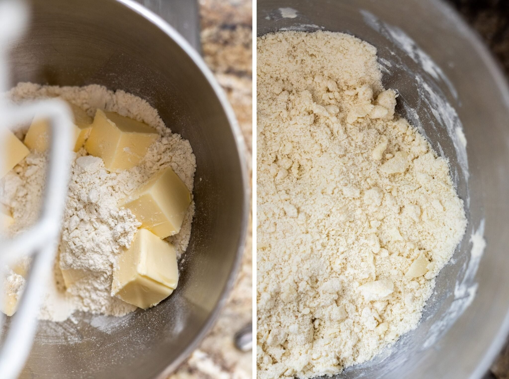 A photo collage of flour and butter in a stand mixer before mixing and mixed flour and butter.