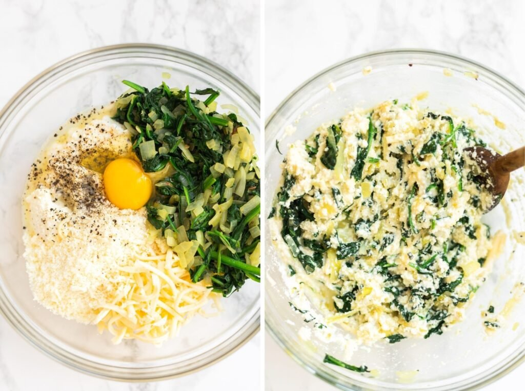 a photo collage of unmixed filling ingredients in bowl next to mixed ingredients in a bowl.