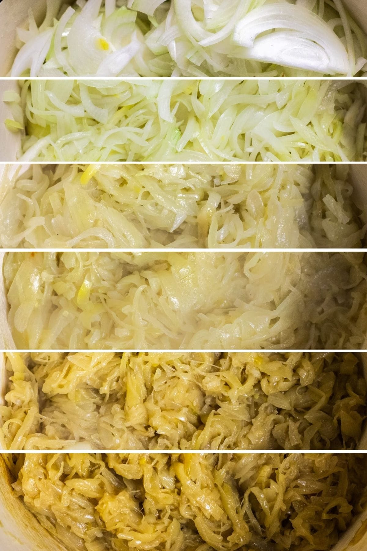 A photo collage showing the different phases of caramelizing onions.