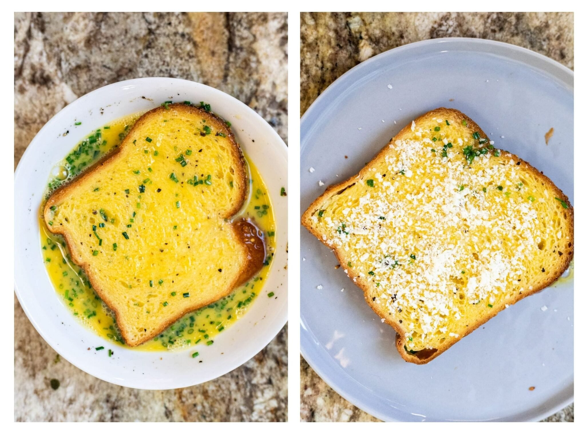 A photo collage of coating bread with egg mixture and topping with parmesan cheese.