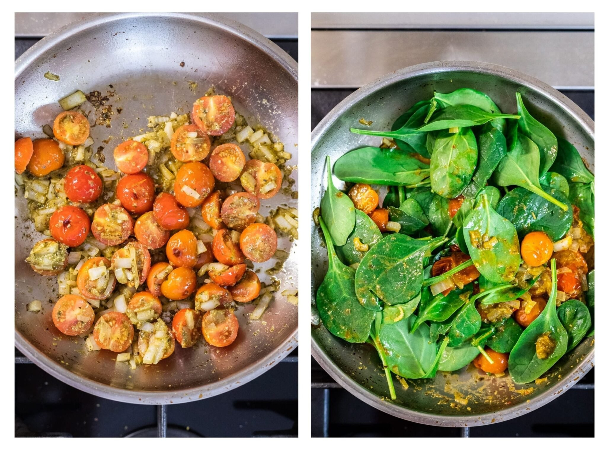 A photo collage of pesto cherry tomato sauce cooking on a stovetop.