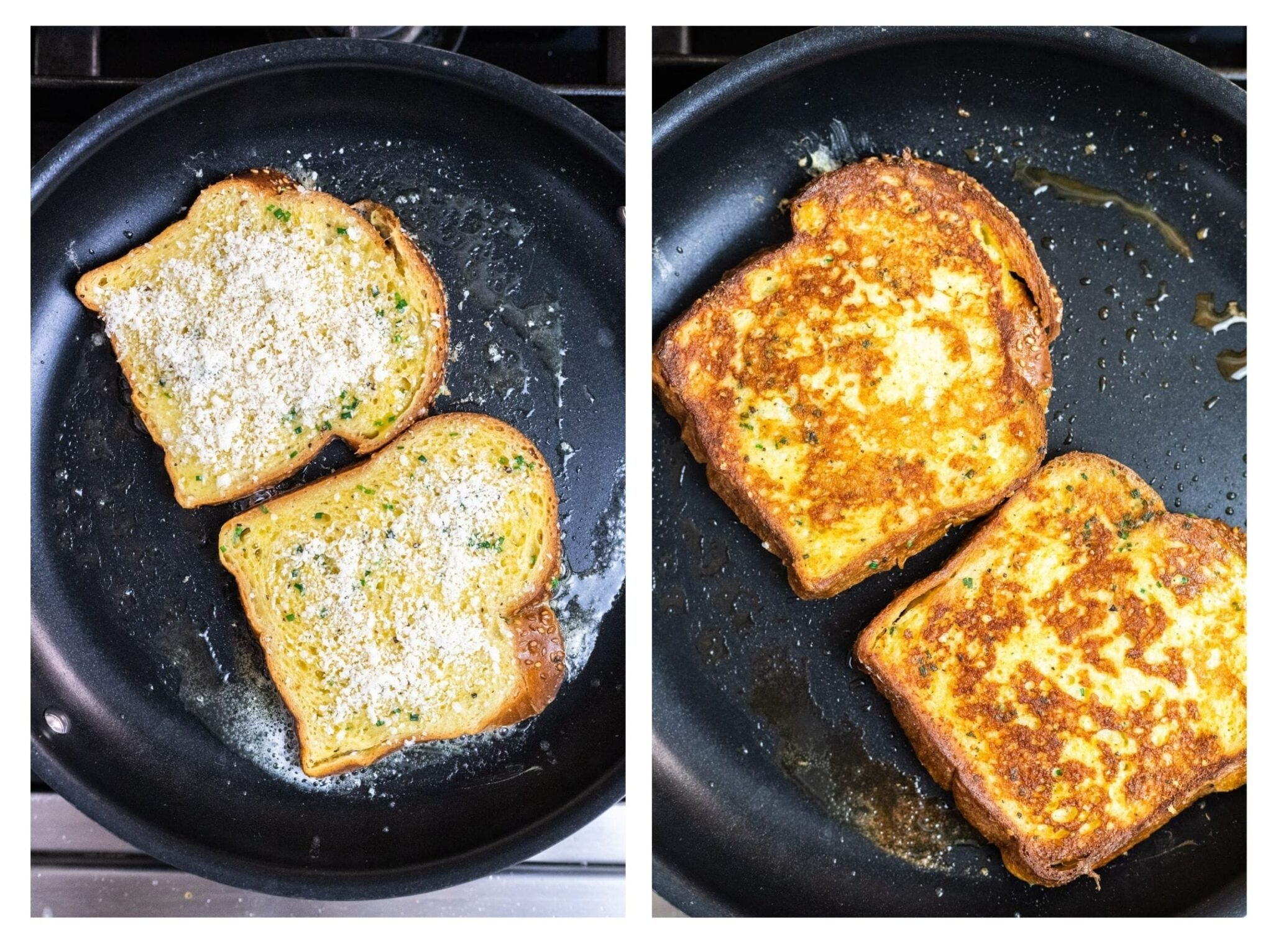 a photo collage of parmesan crusted French toast cooking in a skillet.