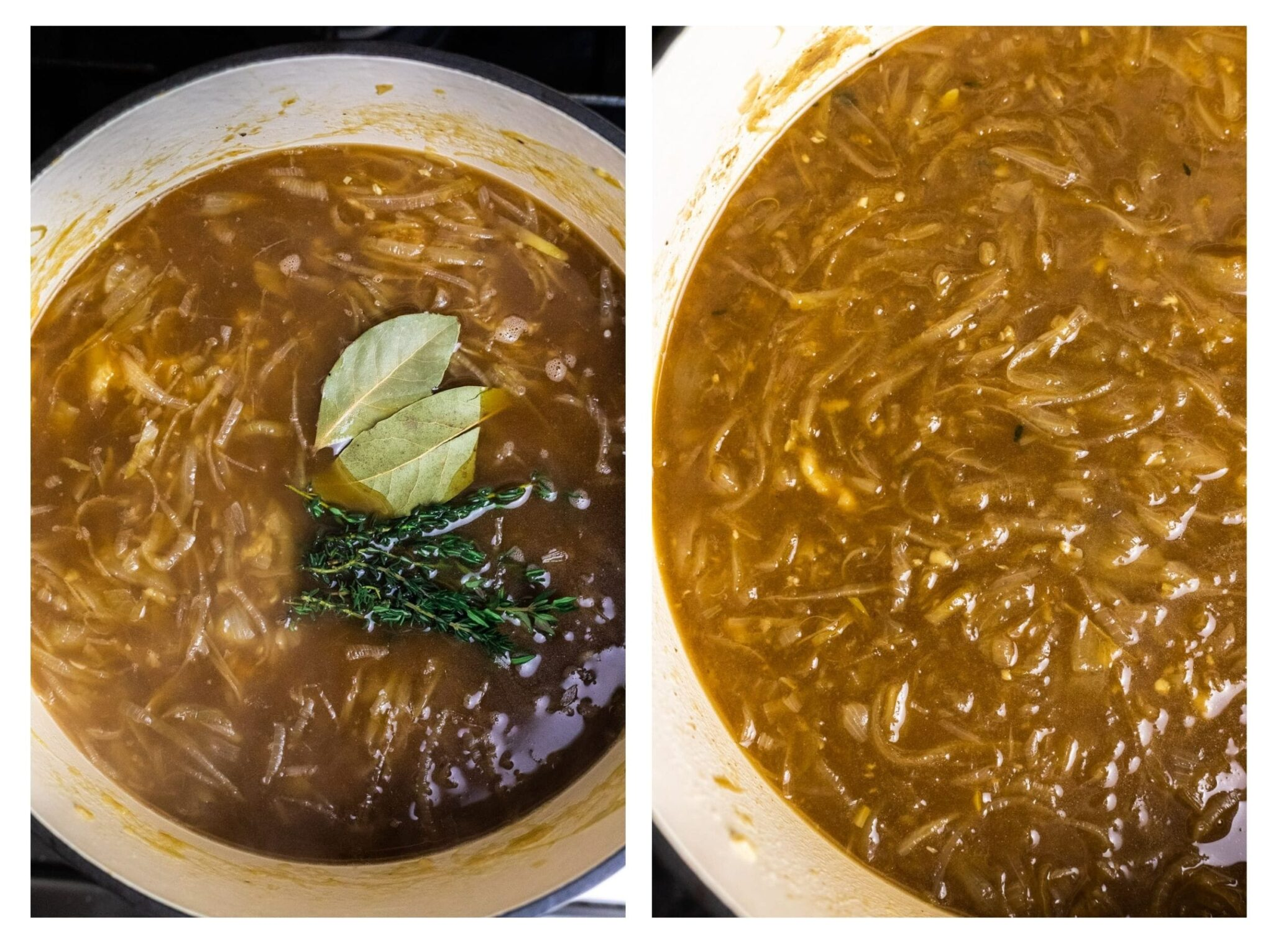 French onion soup before and after simmering.