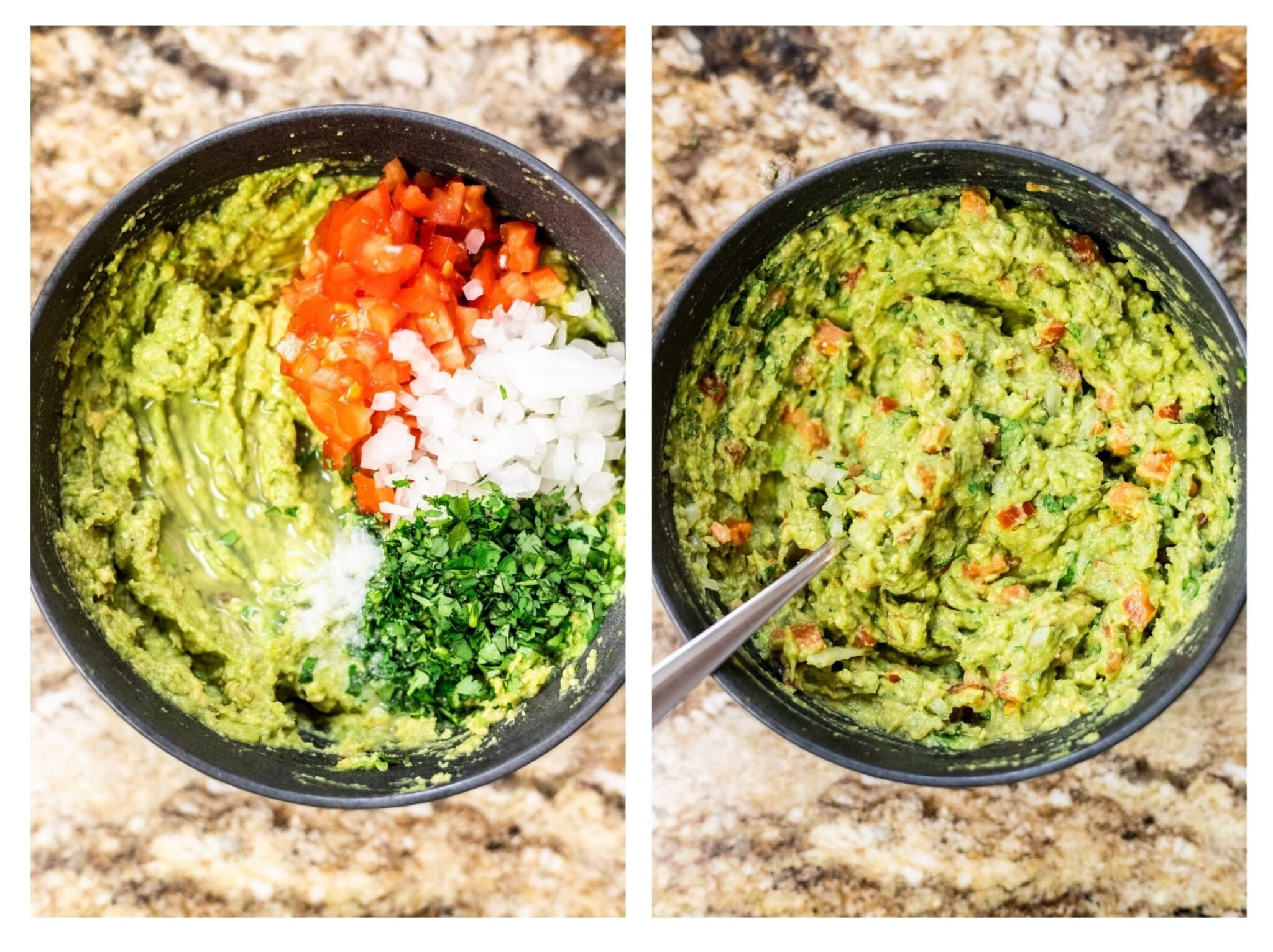 A photo collage of mashed avocado in a bowl with guacamole ingredients piled on top of it and freshly made guacamoke.