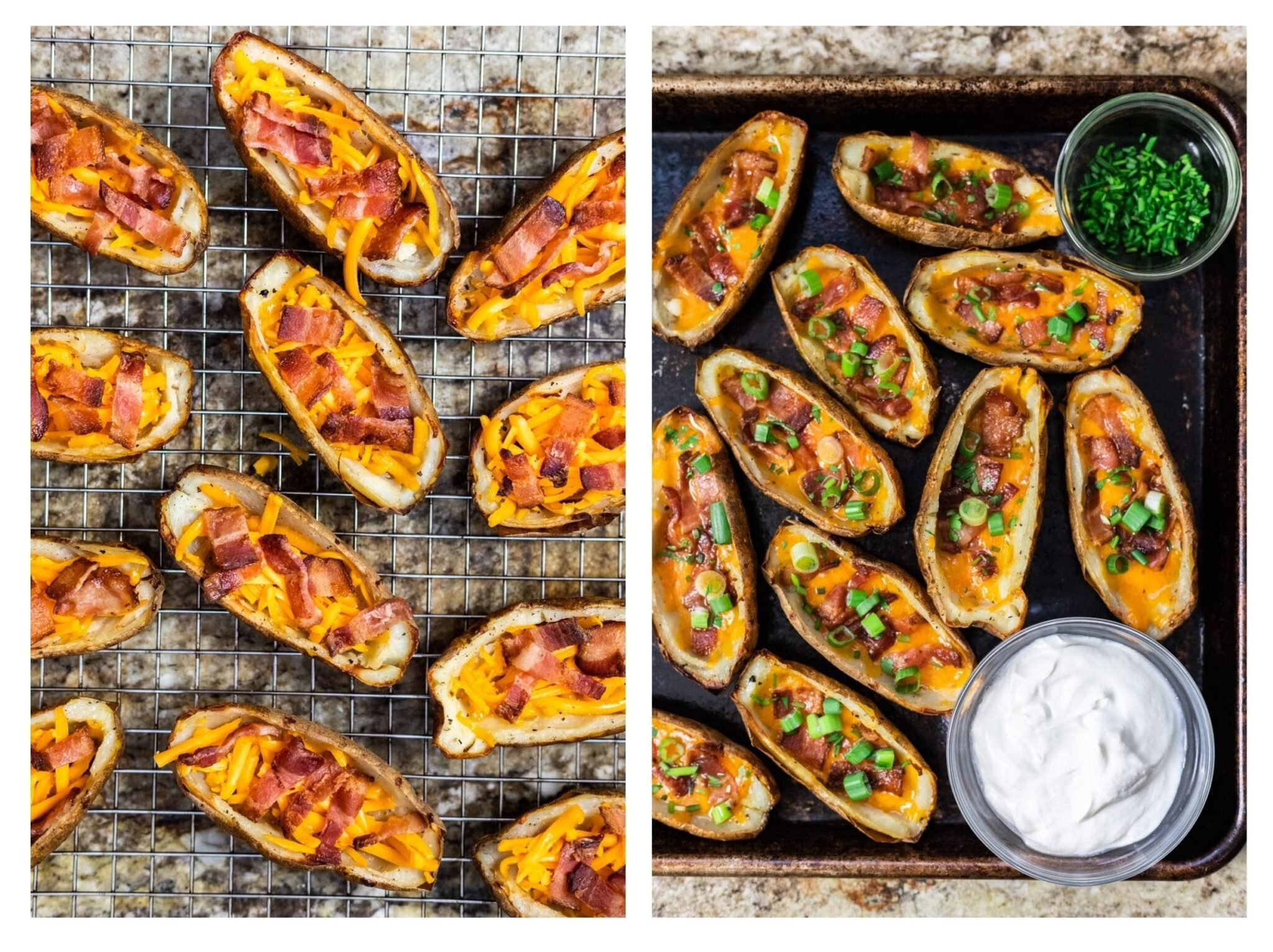 A photo collage of loaded but unbaked potato skins next to freshly baked potato skins on a tray serrved with sour cream.