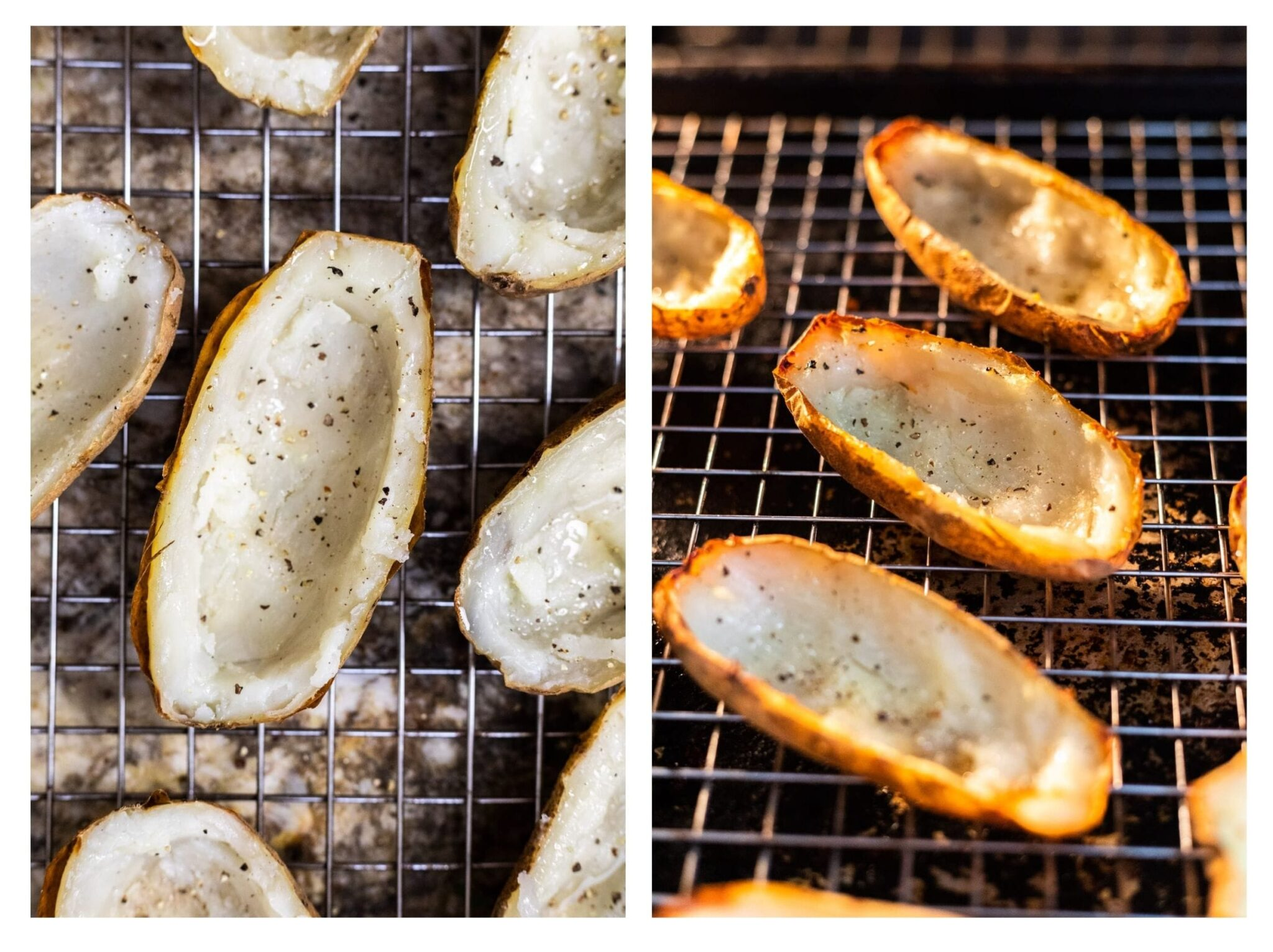 A photo collage of scooped and seasoned baked potato skins next to crisped skins baking in the oven.