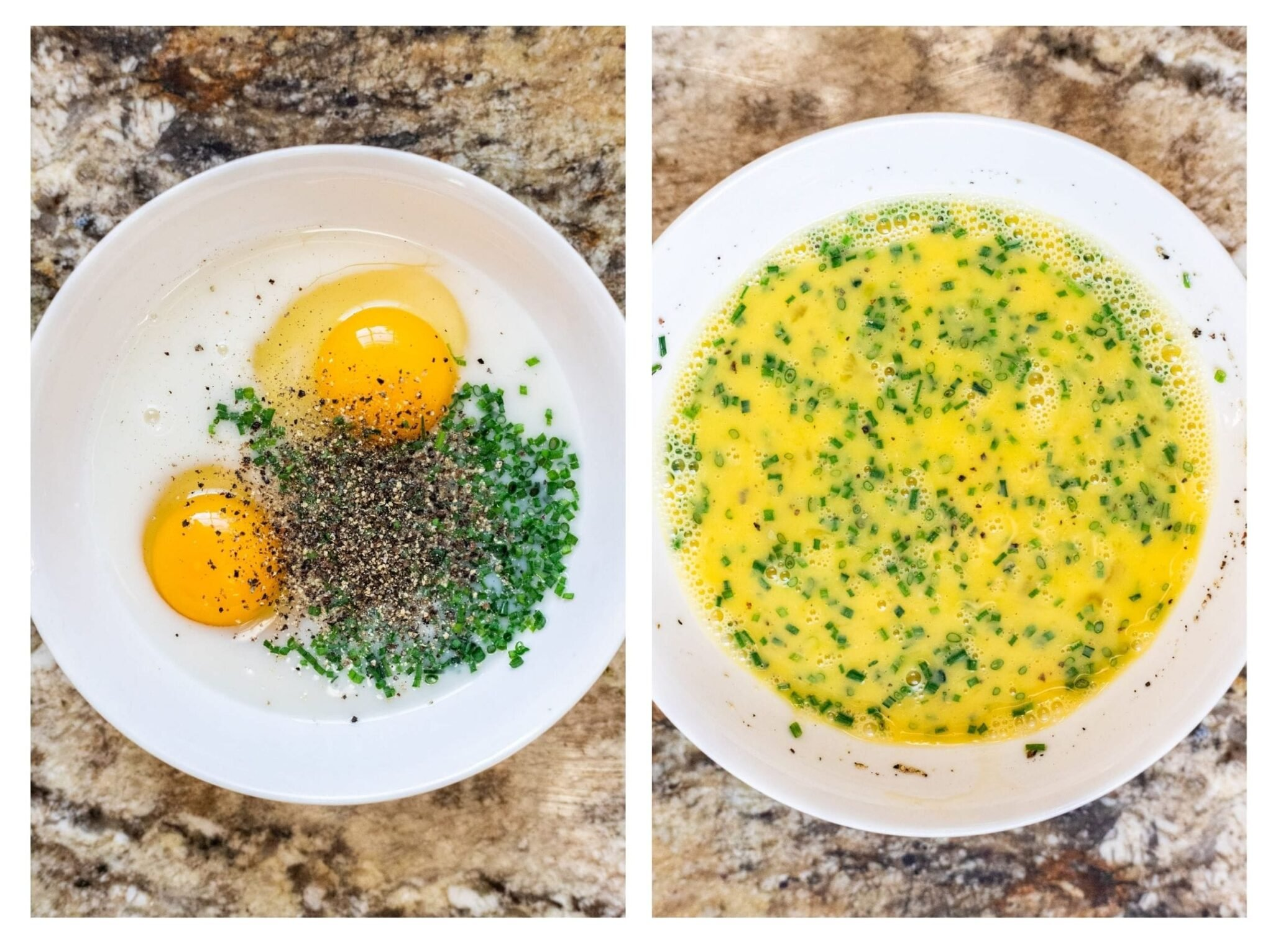 A photo collage of preparing egg mixture for French toast.