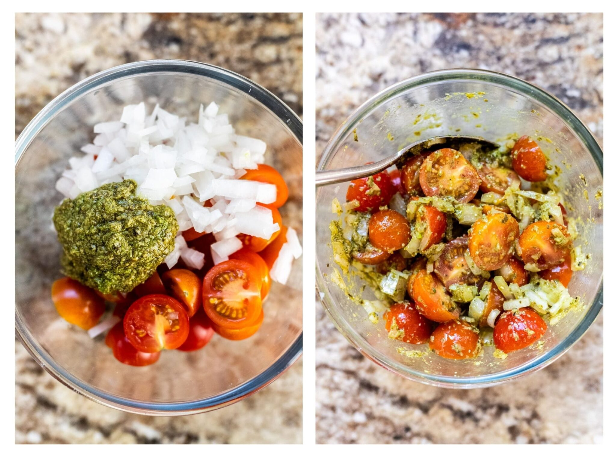 A photo collage of cherry tomato sauce ingredients in a bowl and the sauce ingredients mixed in a bowl.