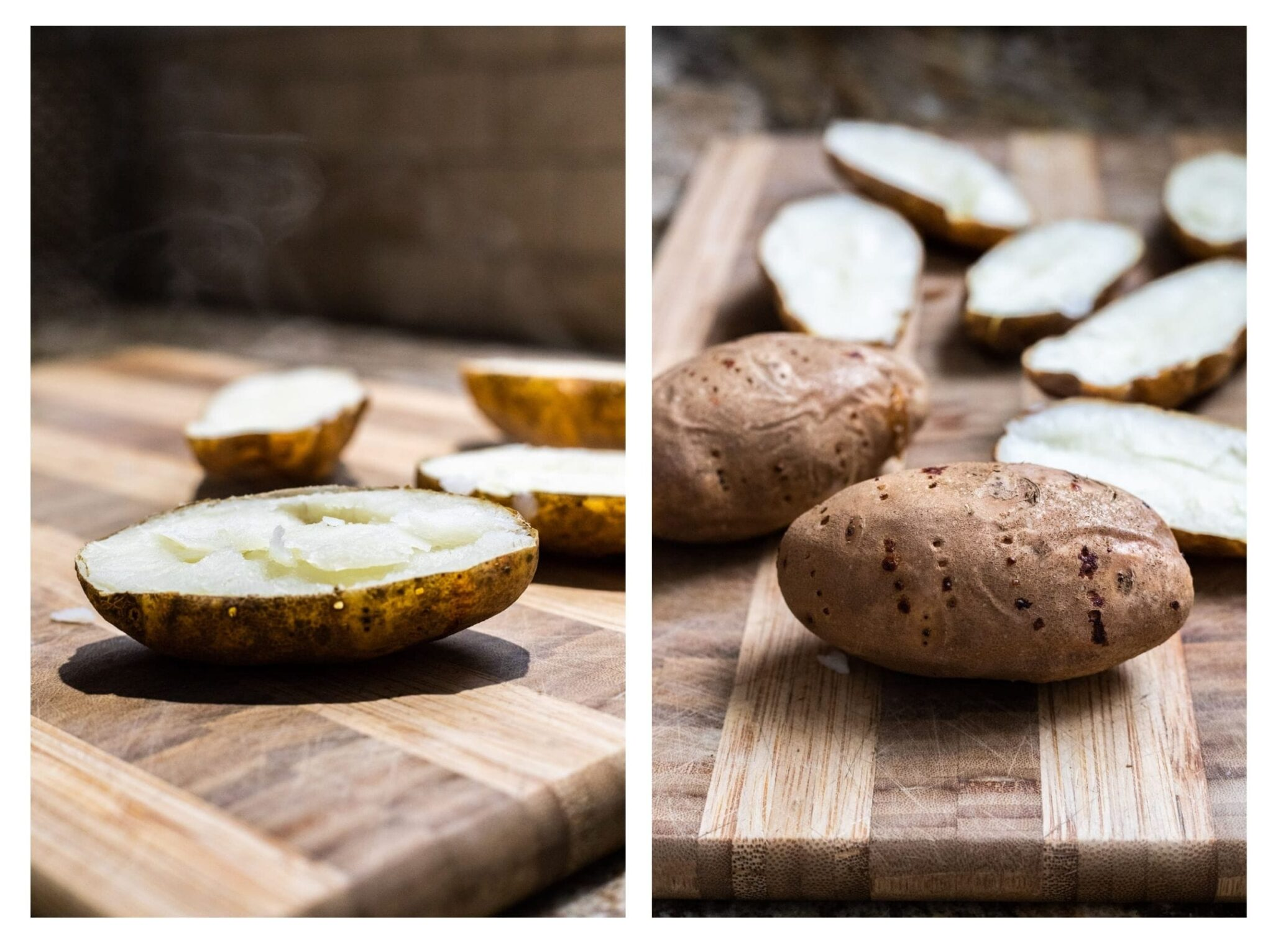 A photo collage of fork pierced baked potatoes and freshly halved baked potatoes.