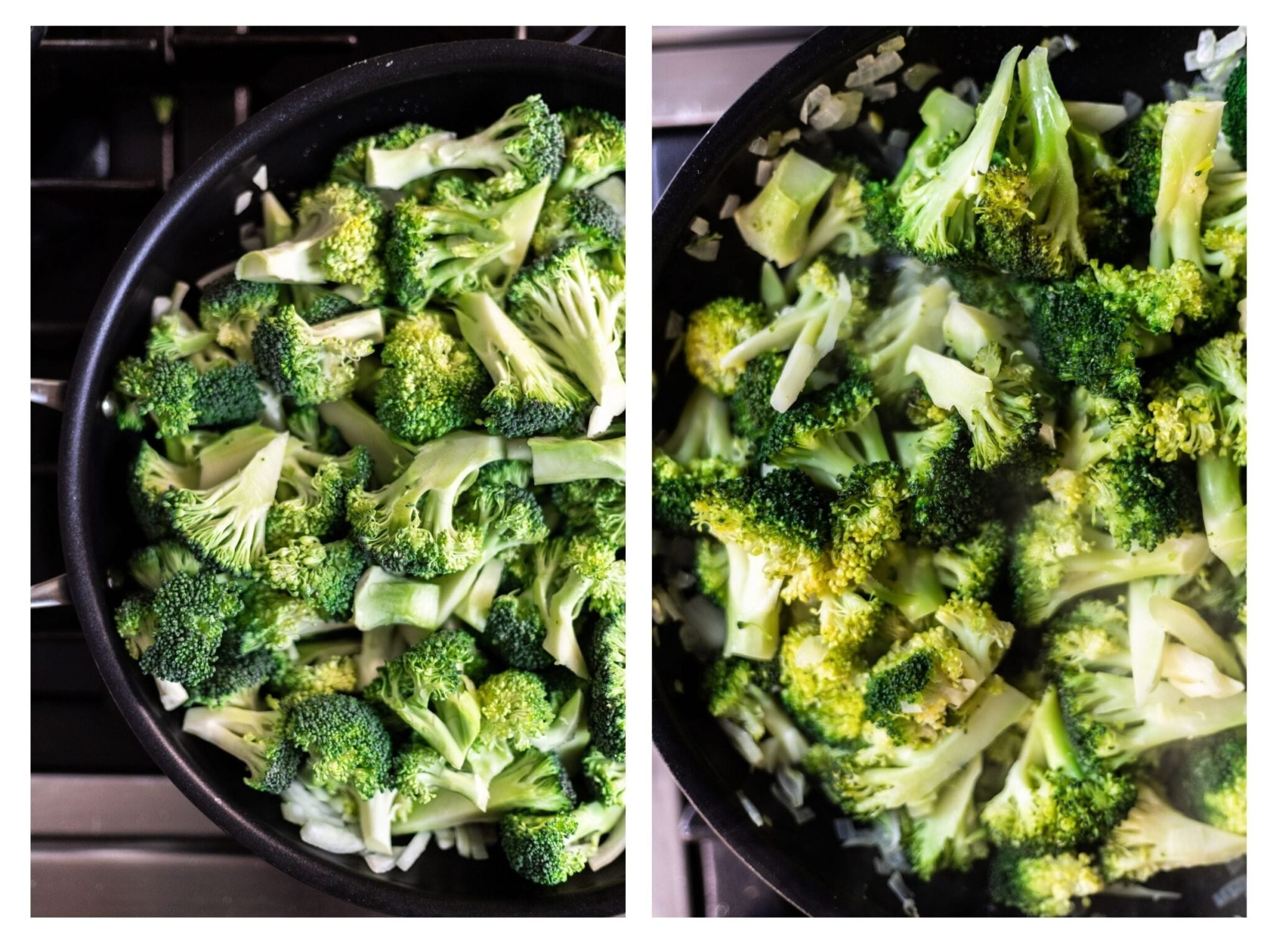 a photo collage of broccoli florets in a skillet and steamed broccoli florets in a skillet.