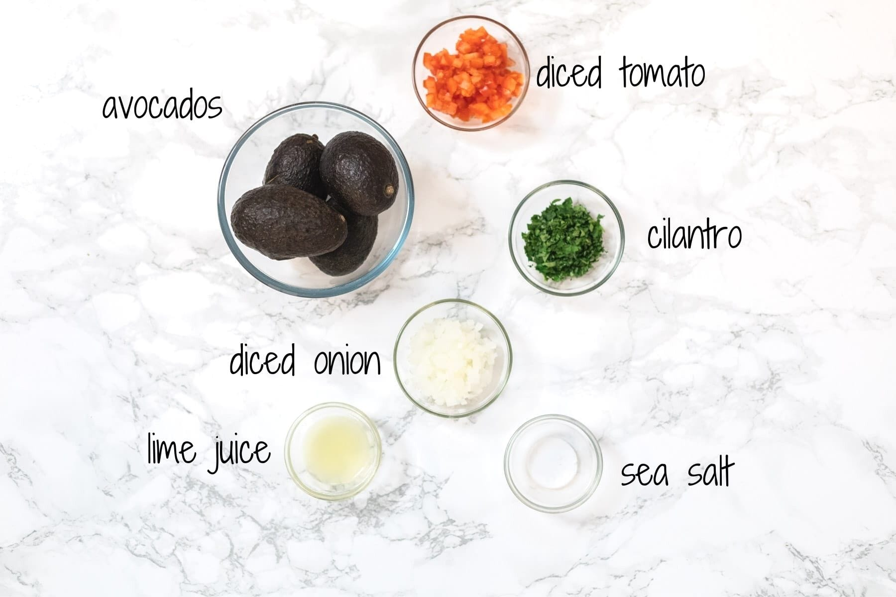 A top down view of ingredients for guacamole with text labels.