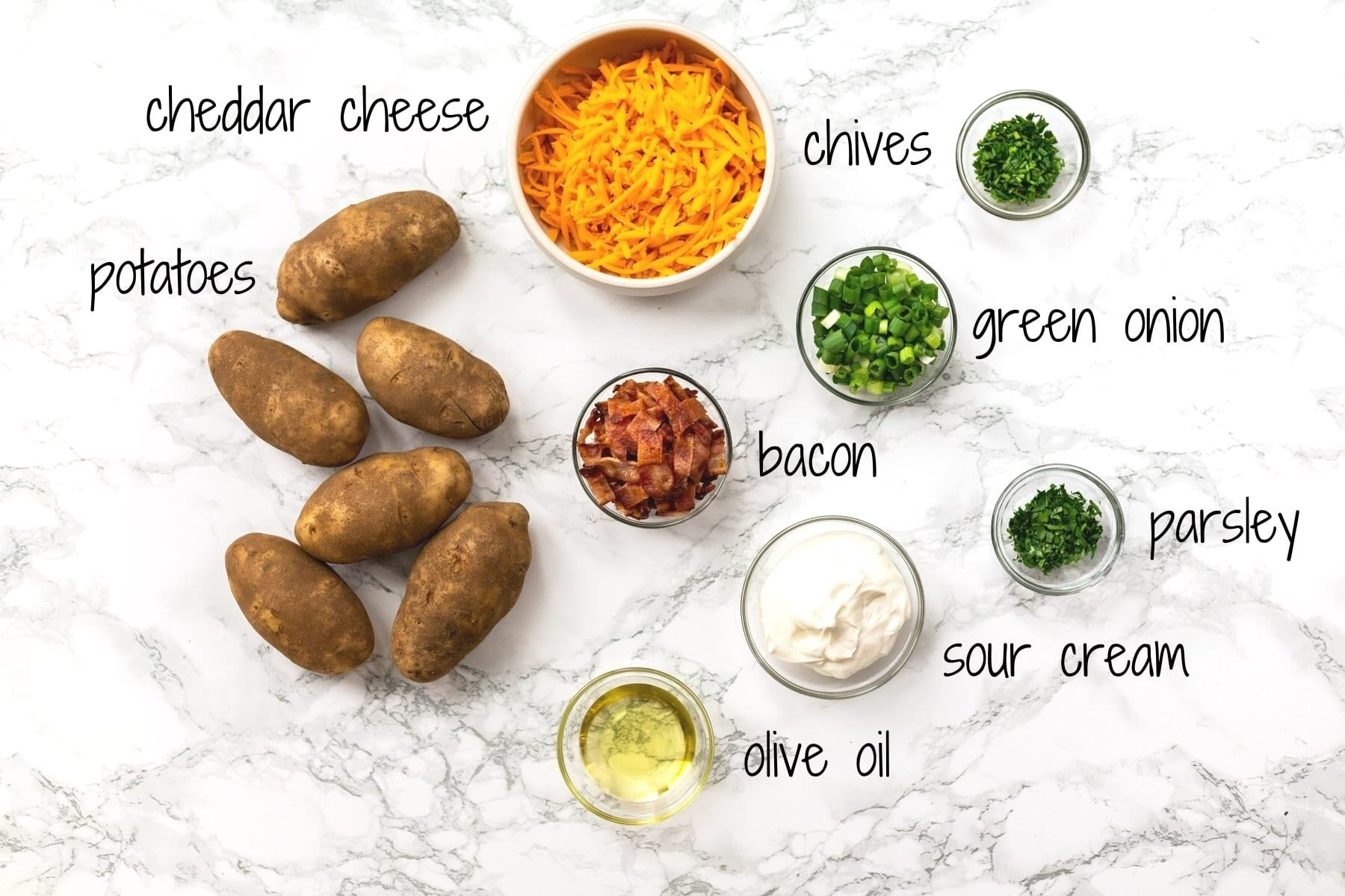 Ingredients for loaded potato skins with text labels.