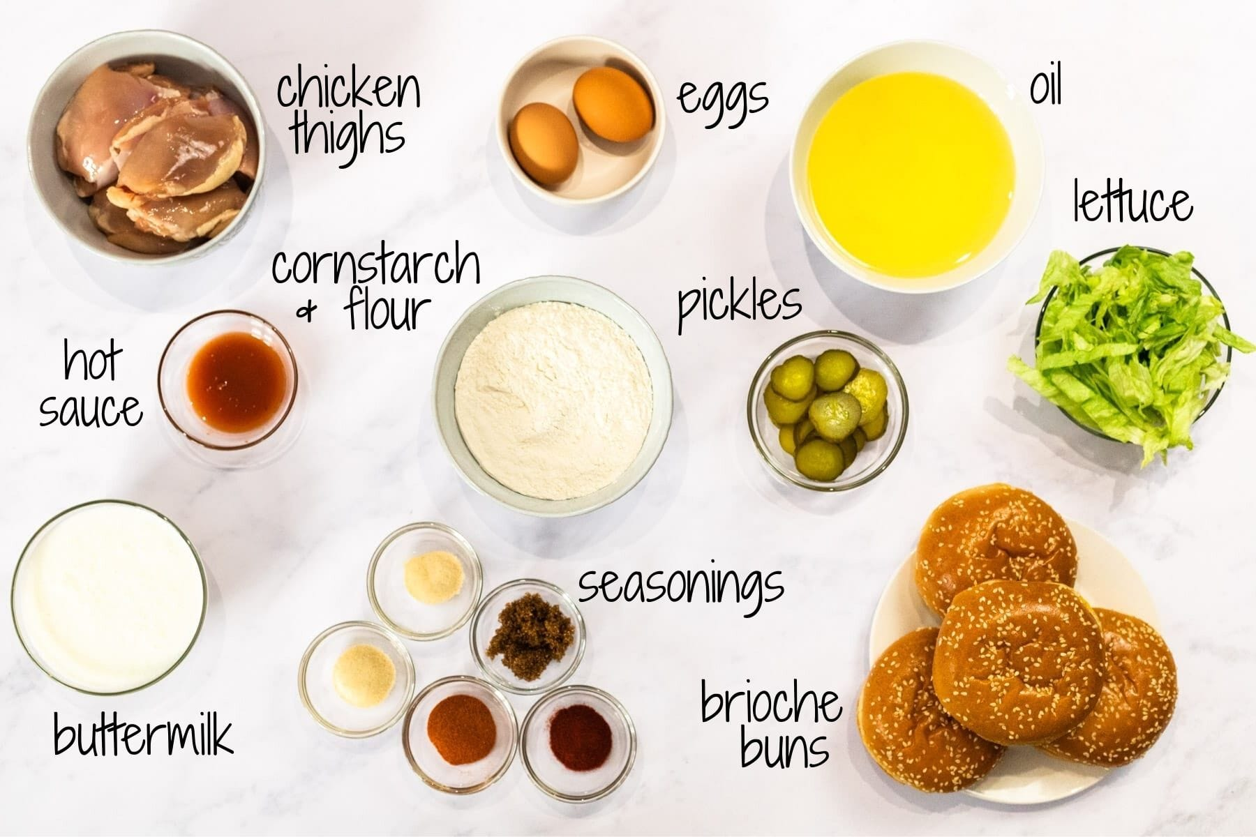 ingredients for Nashville hot chicken sandwiches with text labels.