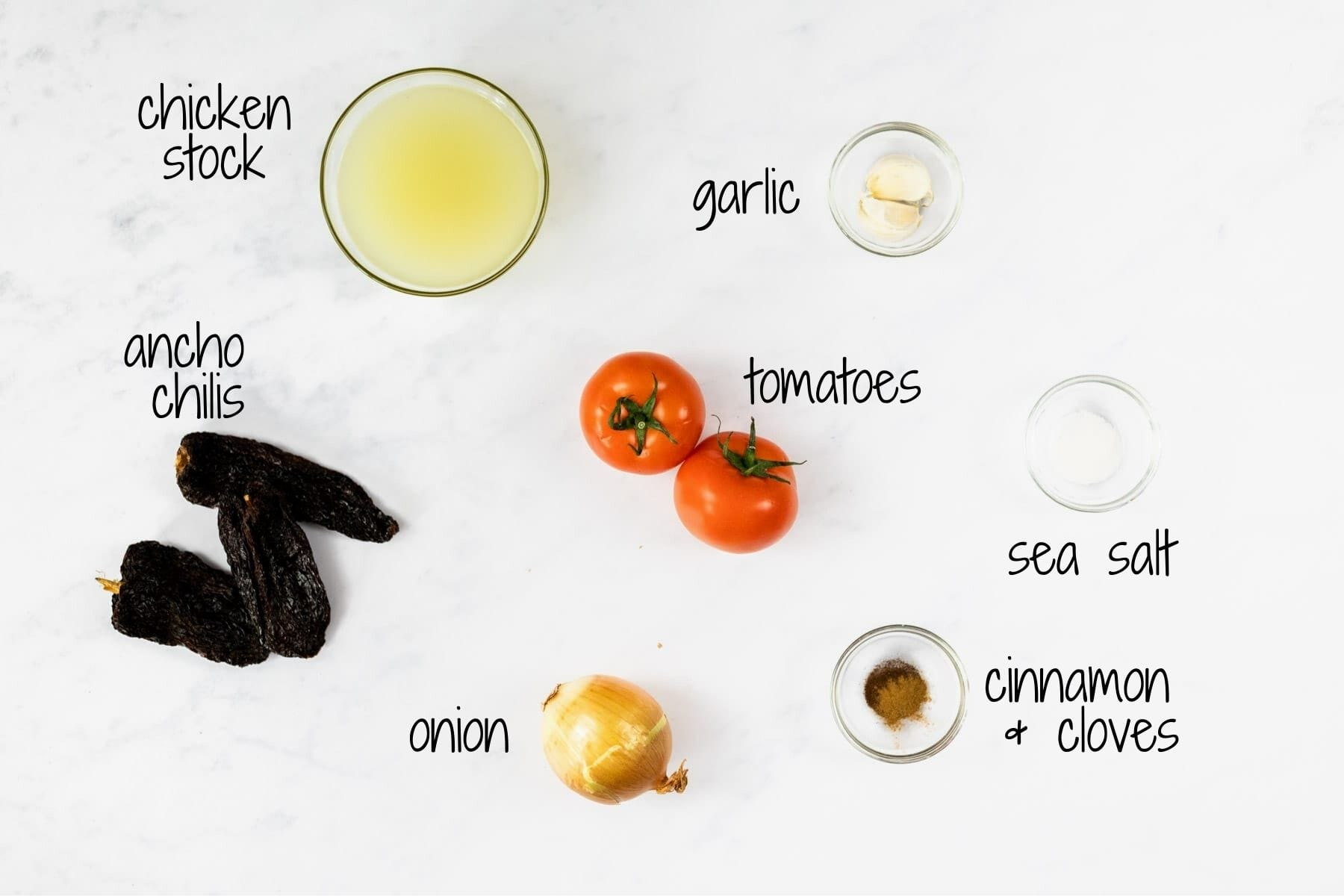 Ingredients for enchilada sauce with text labels.