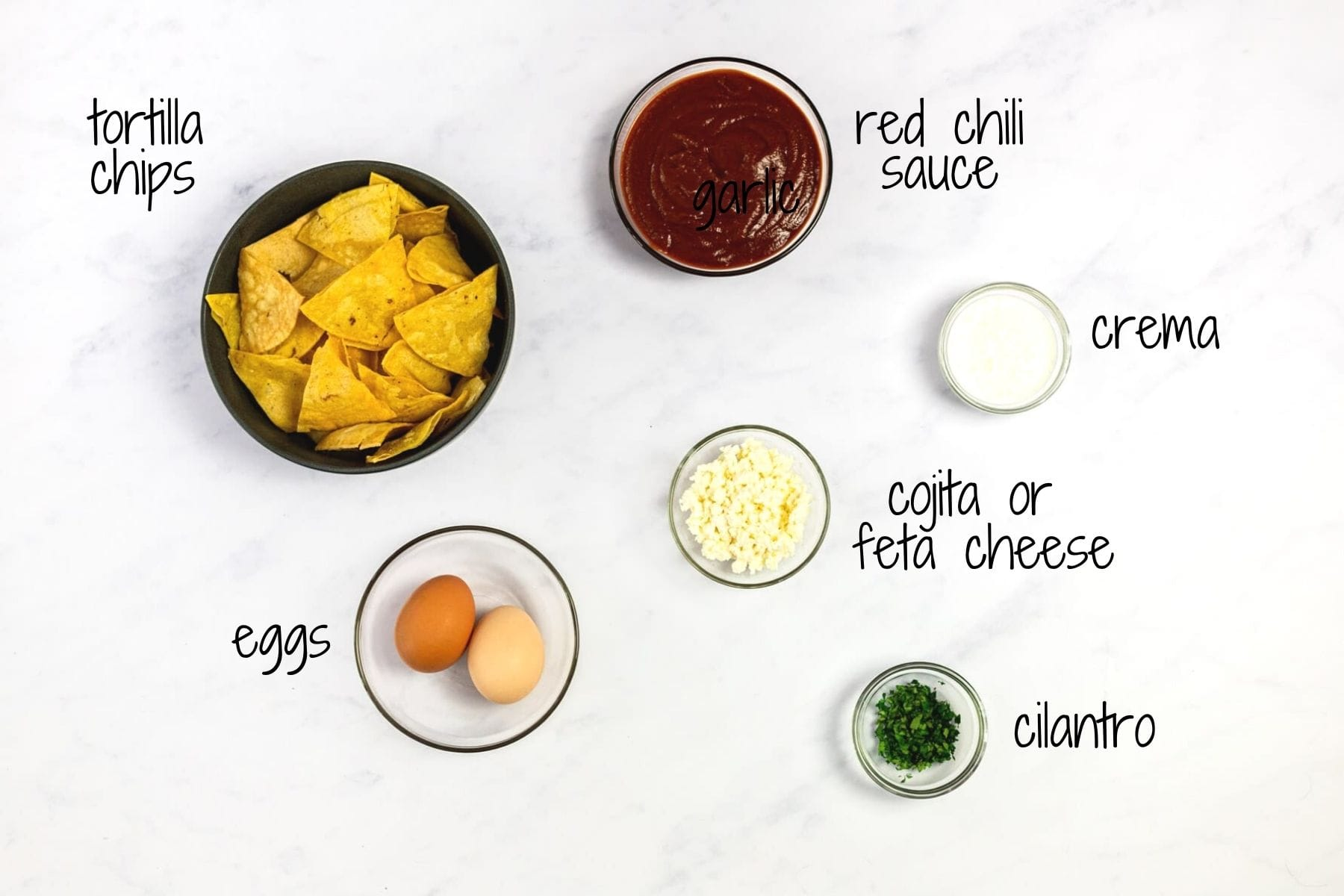 Ingredients for red chilaquiles with text labels.