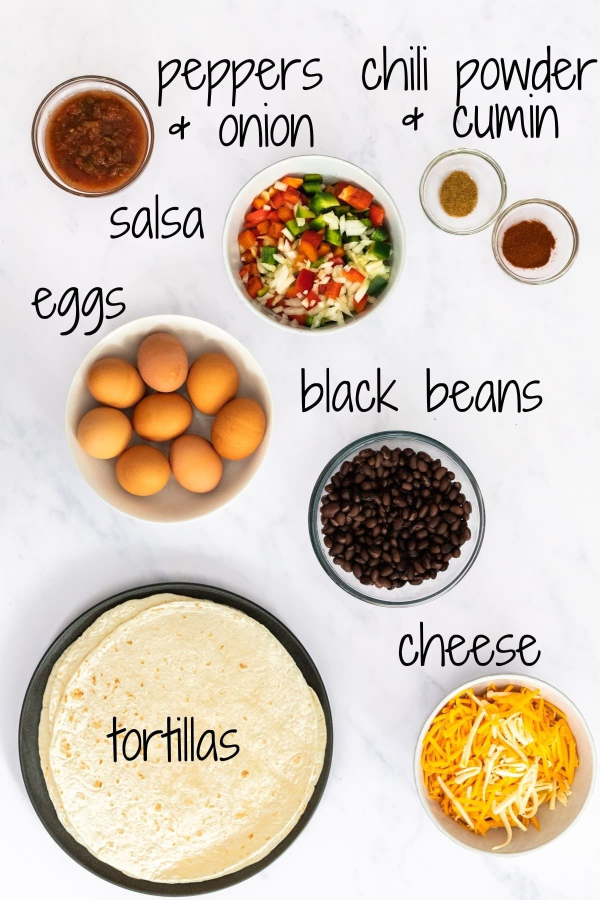 Ingredients for vegetarian breakfast burritos with text labels.