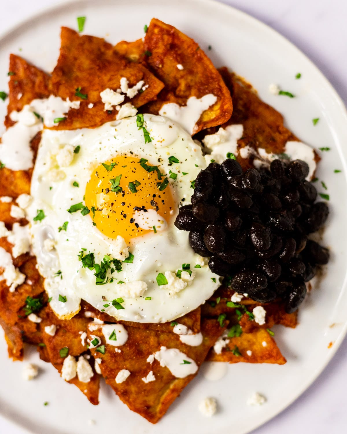A close up view of a plate of red chilaquiles served with a side of Mexican black beans.