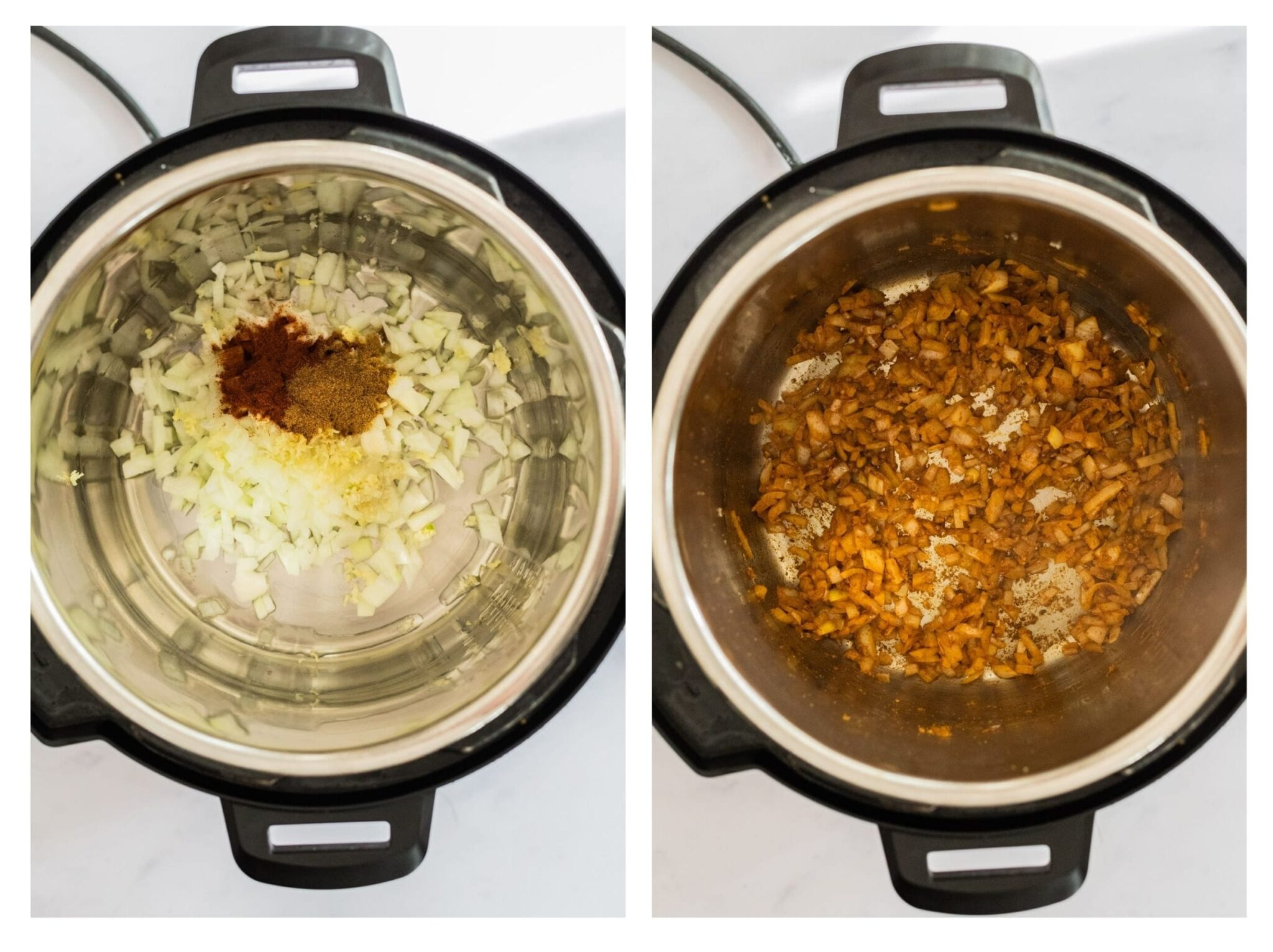 A photo collage of onions and spices in the Instant Pot and sauteed onions in the Instant Pot.