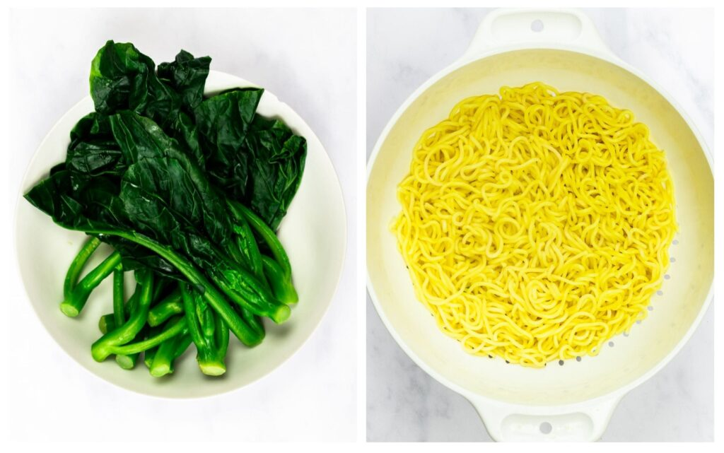 blanched greens and cooked ramen noodles