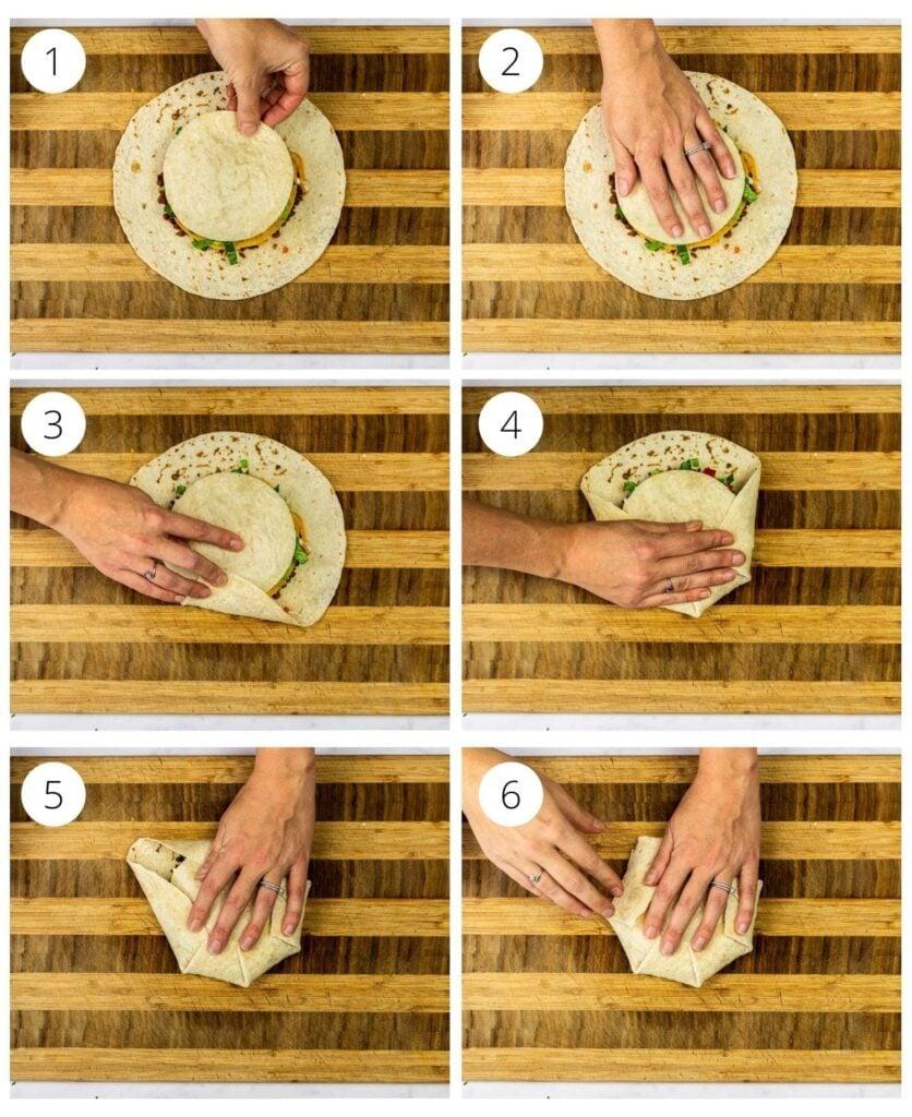 closing a crunchwrap step by step.