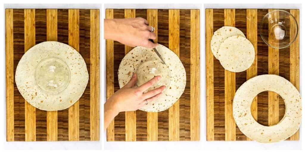 cutting circles out of tortillas step by step