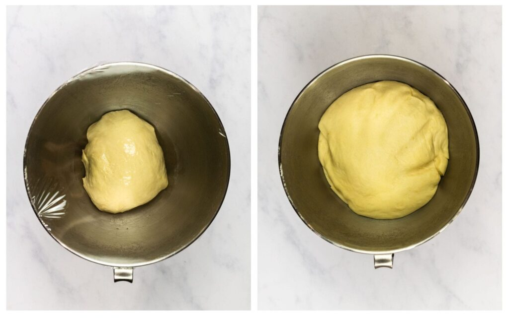 Breadstick dough before and after rising.