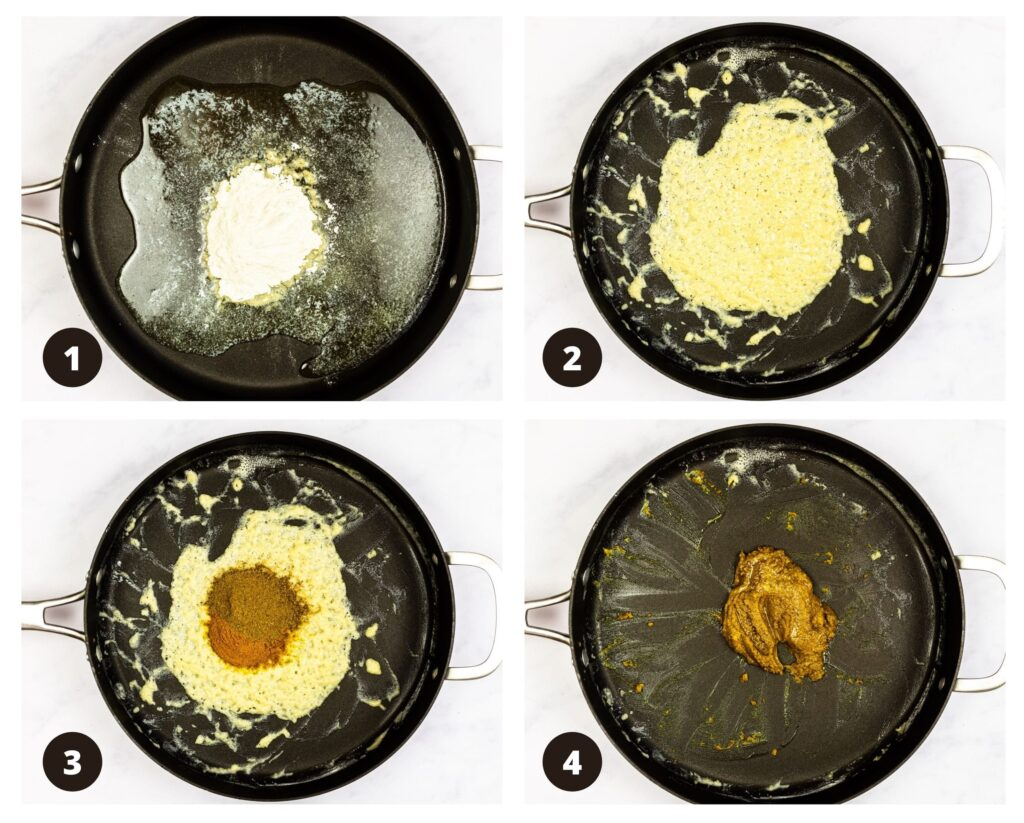 a photo collage of making Japanese curry roux.
