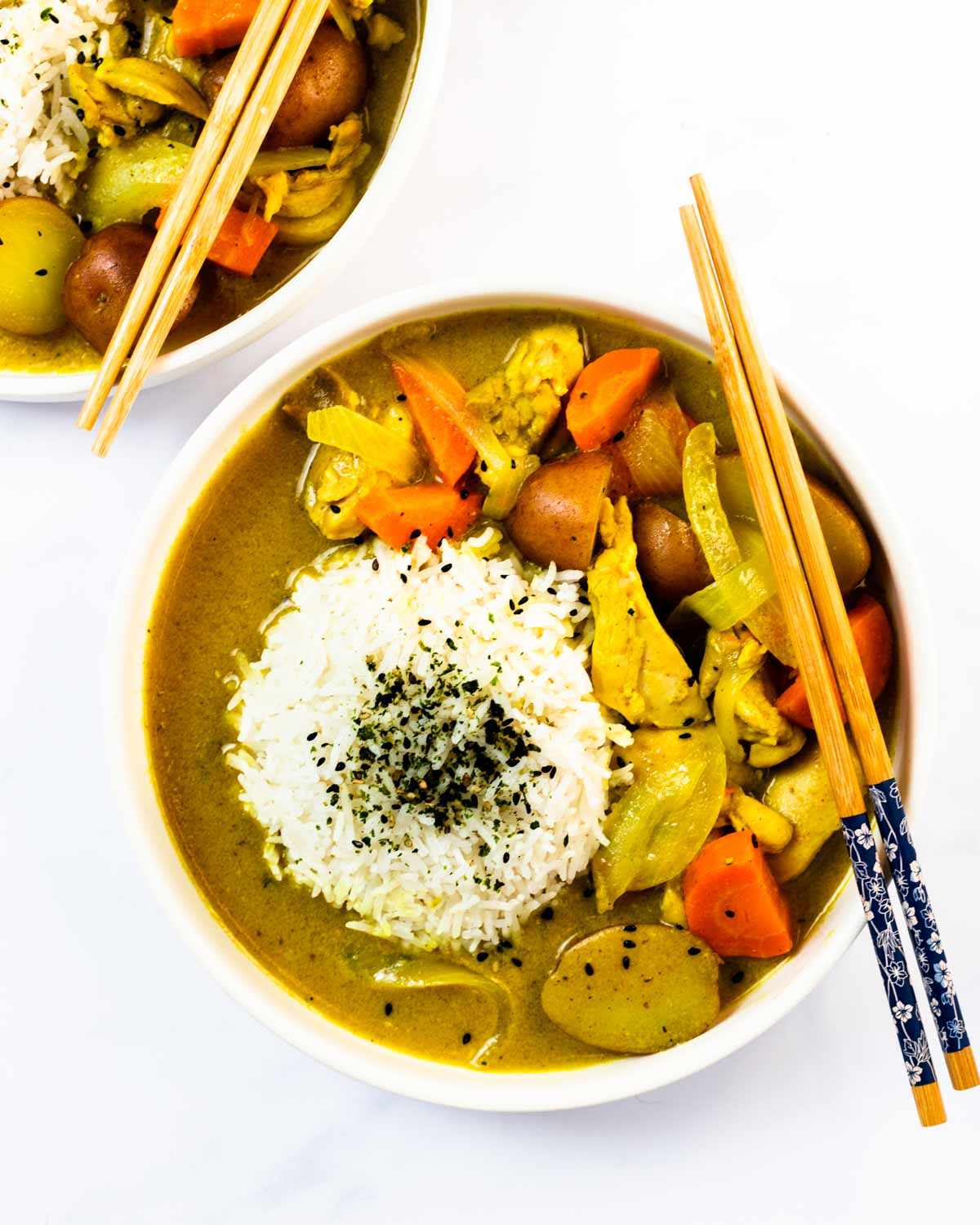a top down view of a bowl of Japanese chicken curry.