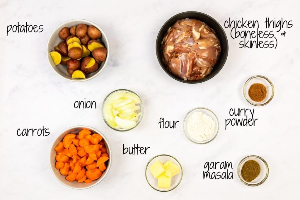 ingredients for Japanese chicken curry with texts labels