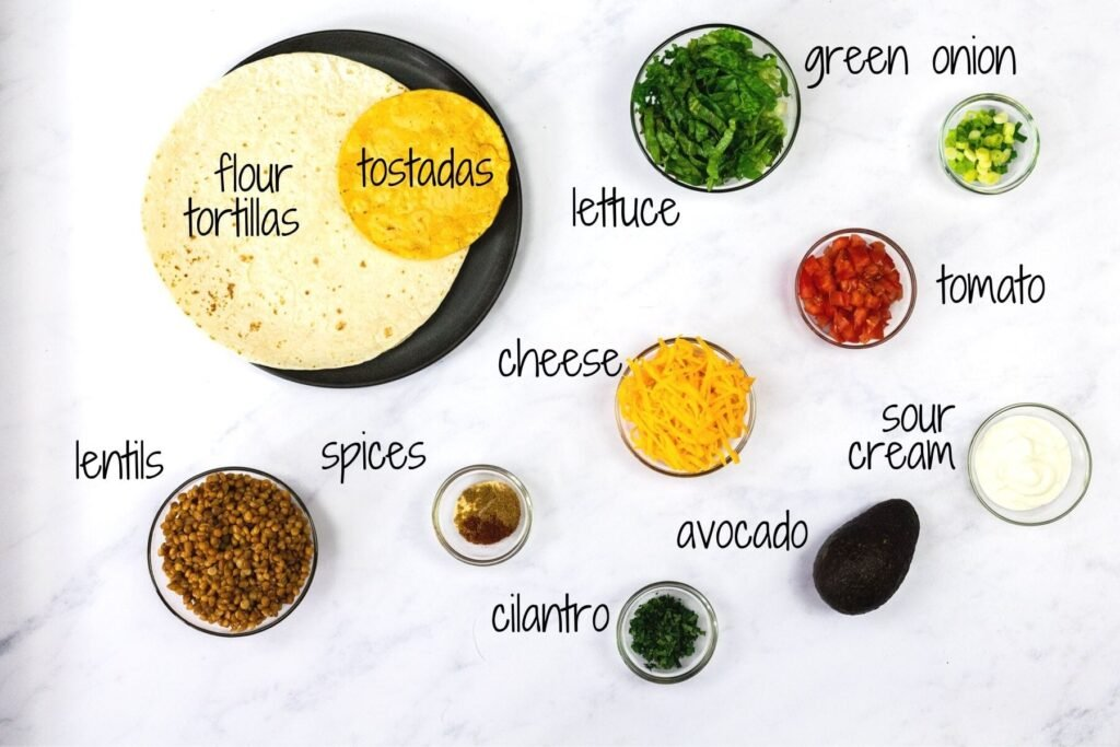 ingredients for vegetarian crunchwrap supreme with text labels
