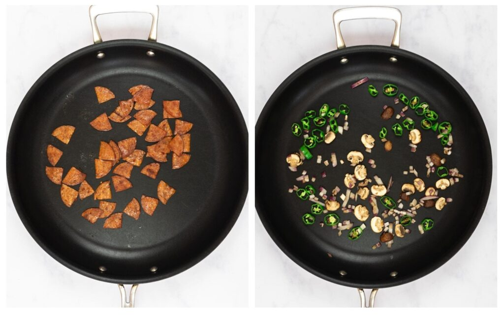 a photo collage of pizza toppings roasting in a skillet.