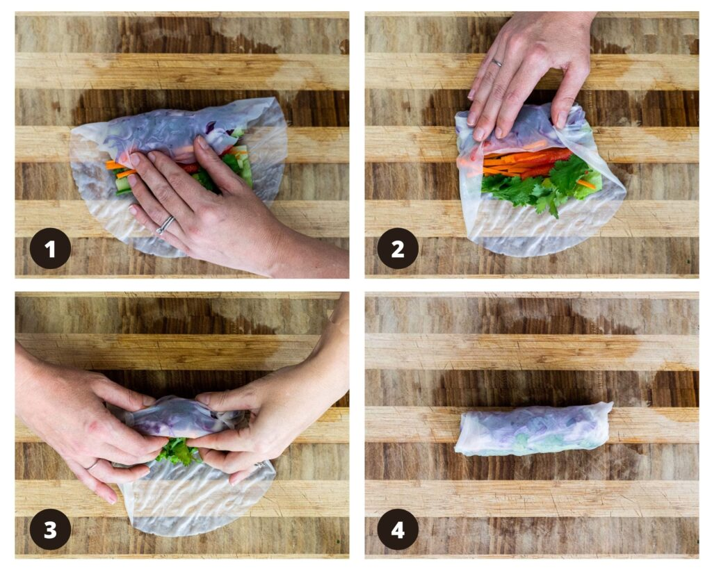 A photo collage showing the steps of closing and rolling a veggie roll.