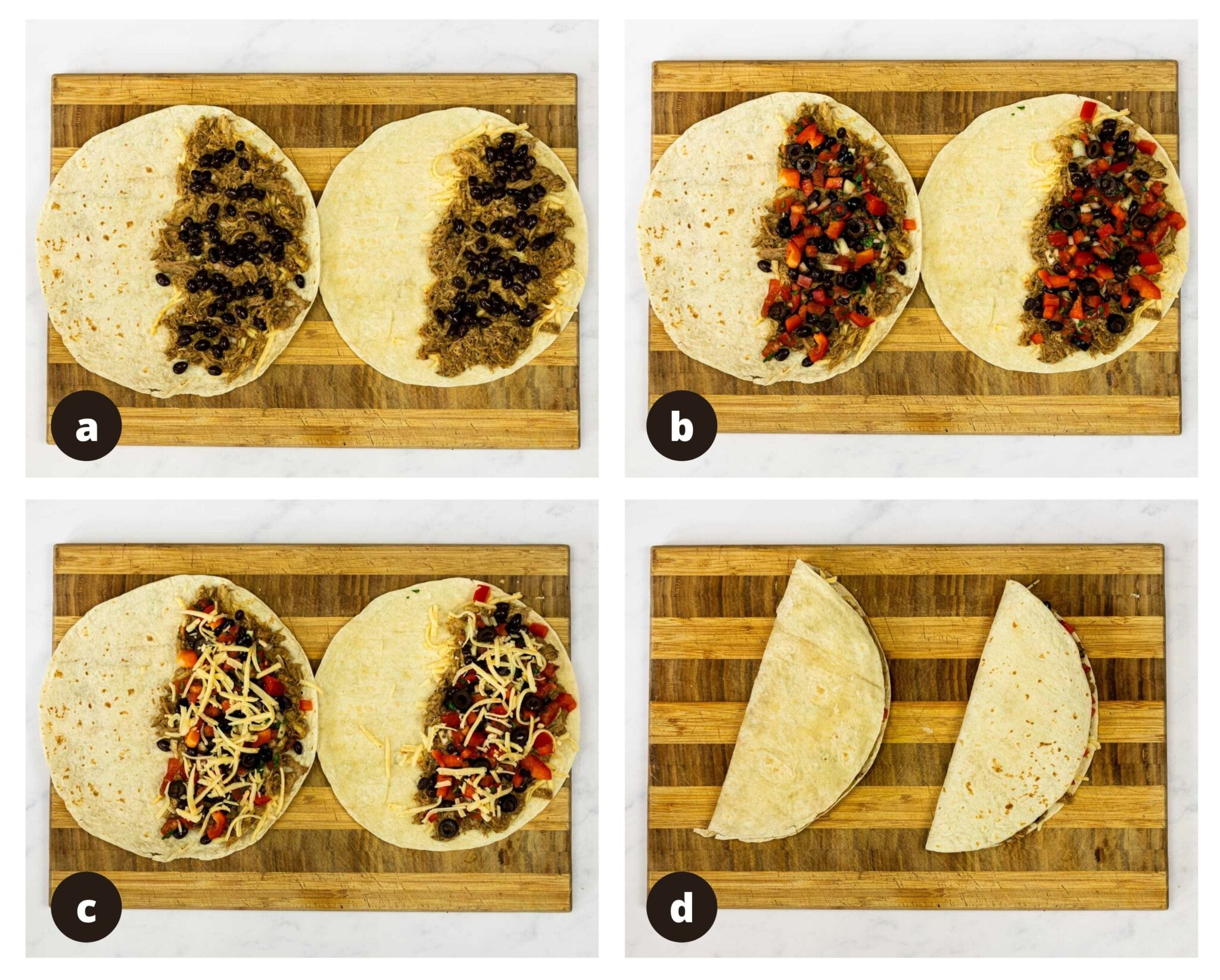 a photo collage of building pulled pork quesadillas