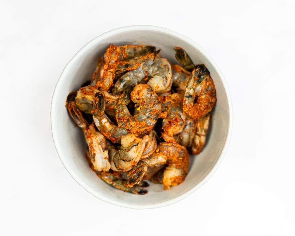 Seasoned shrimp in a bowl