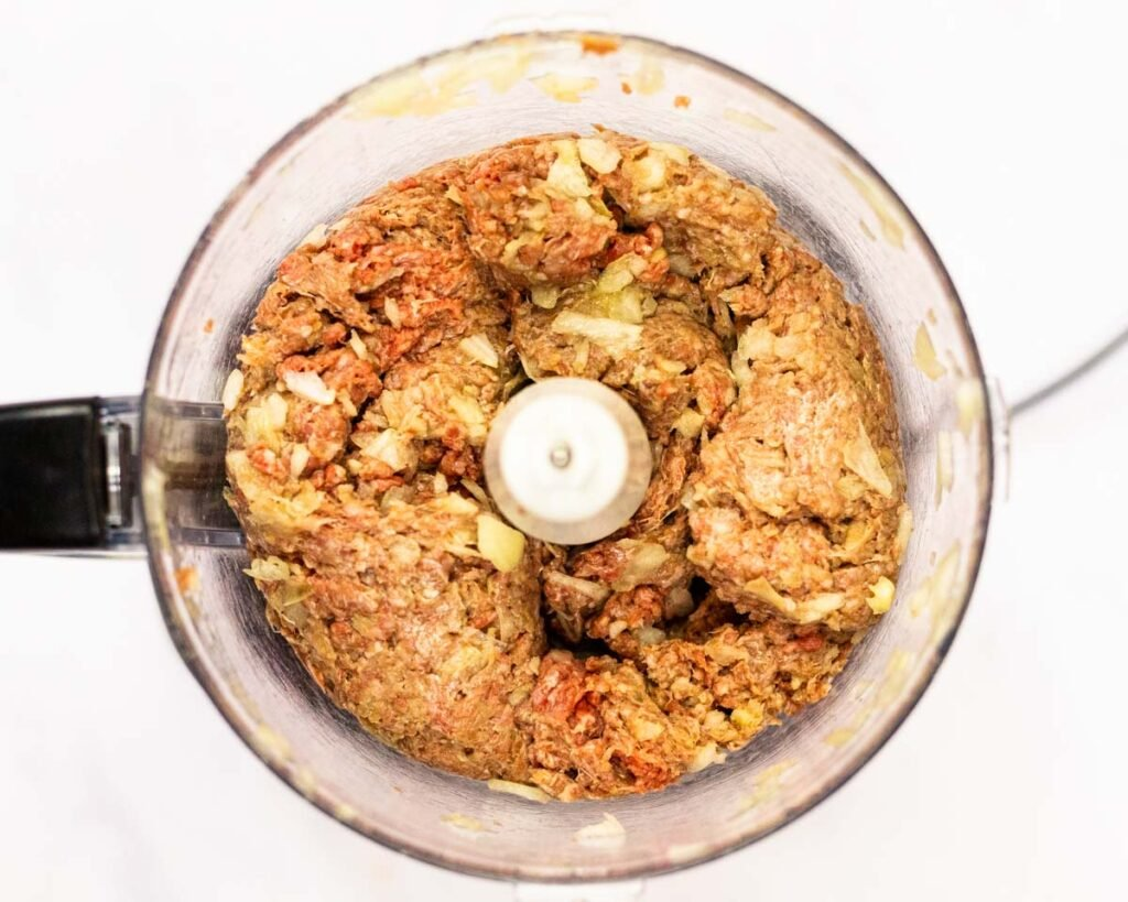 minced beef and onion in a food processor